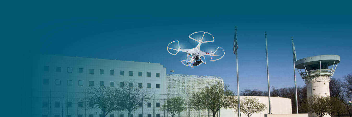 Drone hovering outside prison