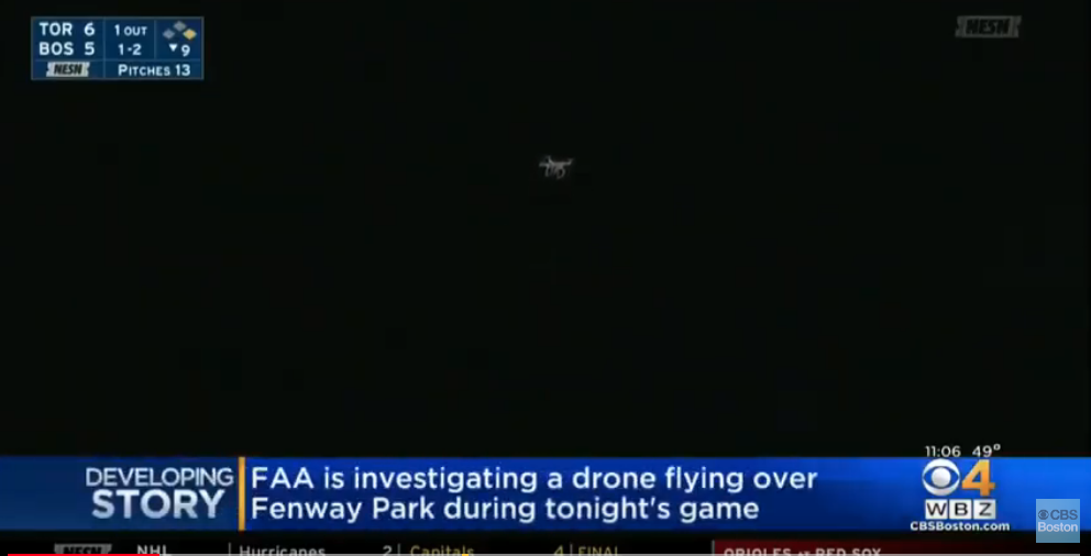Drone flies over Fenway Park during Red Sox MLB game