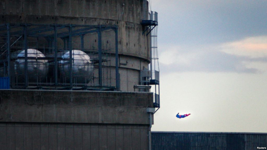 Greenpeace Superman drone nuclear plant